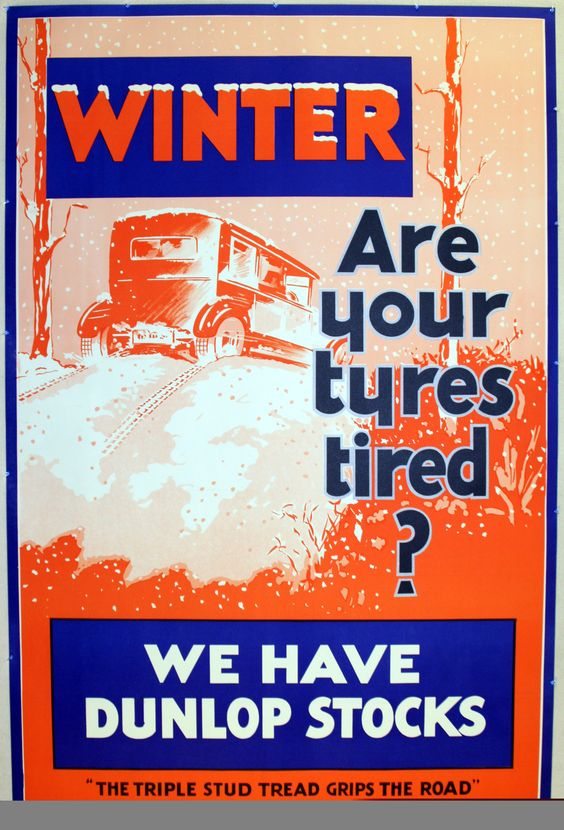 Dunlop Winter Tyres, 1930s - original vintage poster listed on AntikBar.co.uk