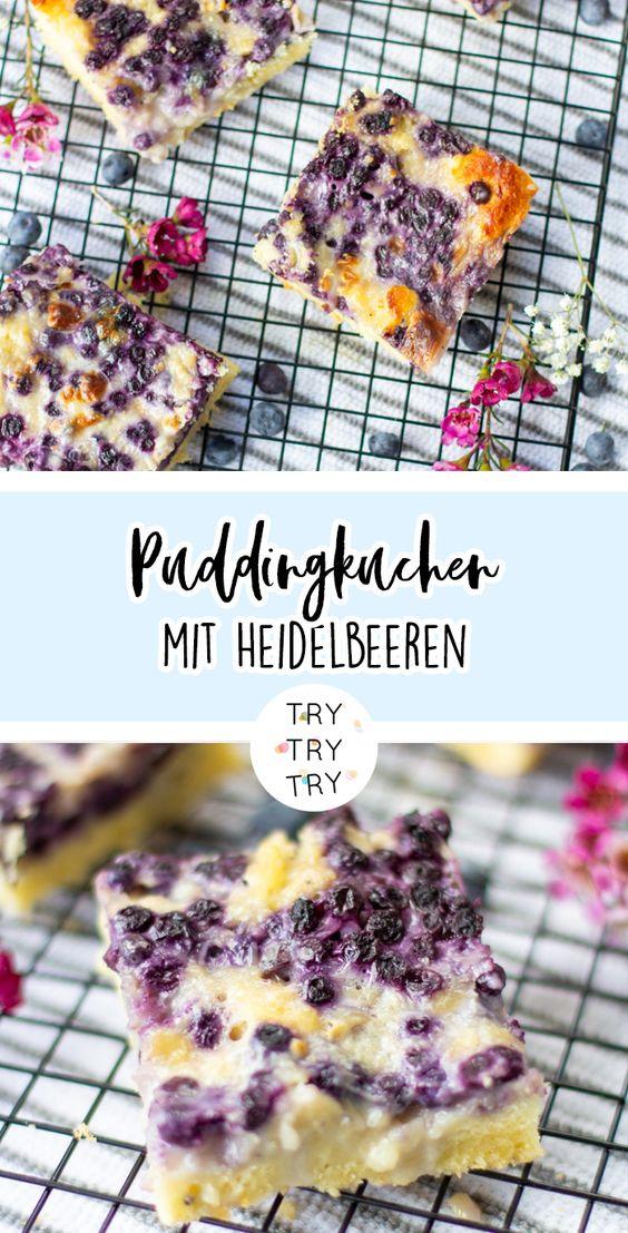 Puddingkuchen mit Heidelbeeren
