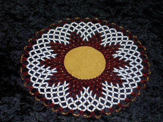 Red Wishing Star Beaded Doily by twyladigangi on Etsy, $40.00