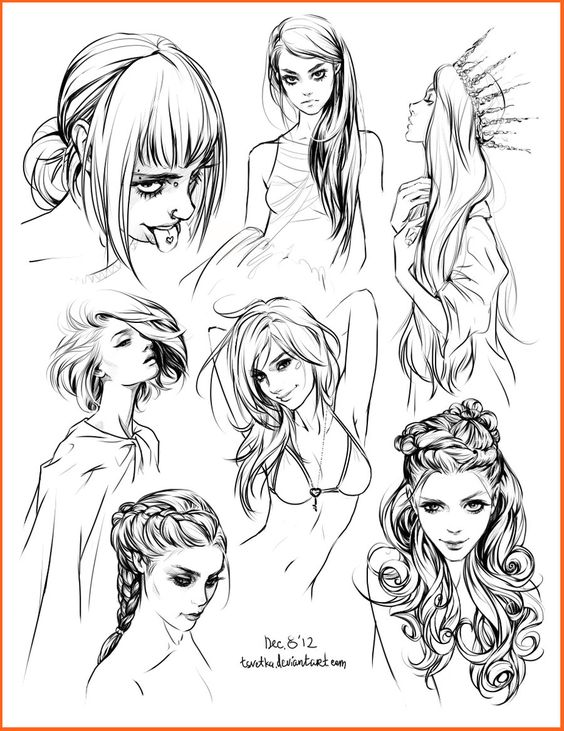hair style sketches by Tsvetka.deviantart.com on @deviantART