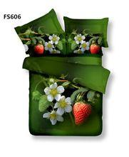 Fresh Strawberry fruit 100% cotton 3d effect reactive printed Queen 4pcs bedding…