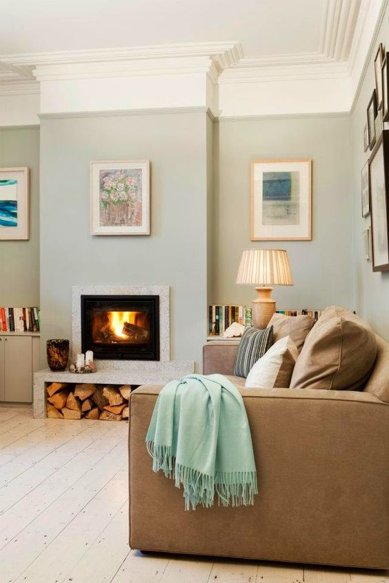 Farrow and Ball Light Blue painted walls in a modern country room with a calm feel. #paintcolors #farrowandballlightblue #aquapaintcolors #calmpaintcolors
