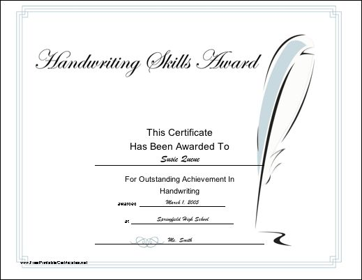Recognize achievement in handwriting or penmanship with for Calligraphy certificate templates
