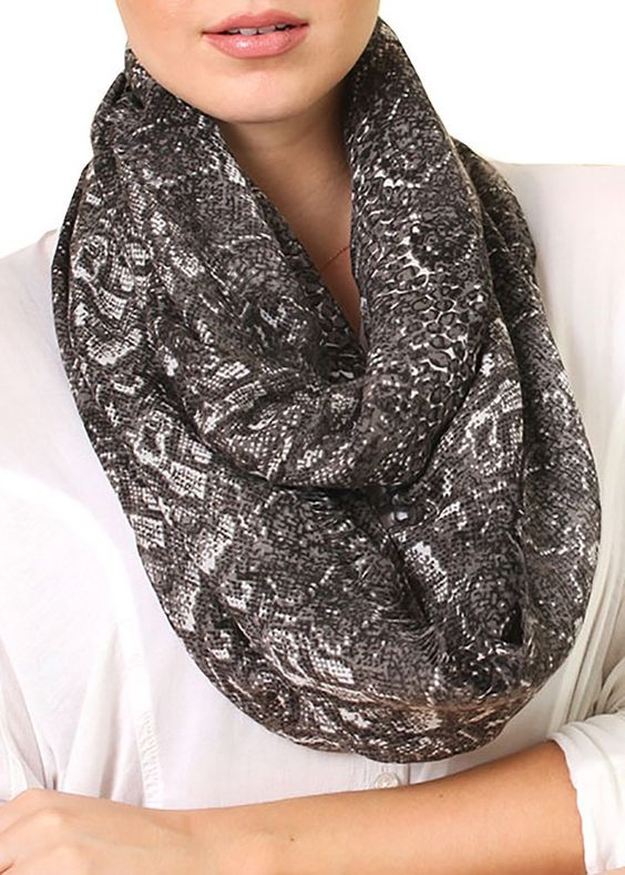 Women's Python Snake Print Grey Brown Infinity Scarf, Fashion Loop Shawl at Amazon Women's Clothing store: