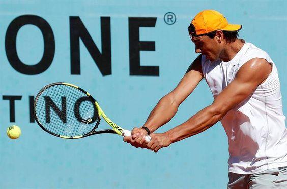 2 May : Rafael Nadal's practice at Mutua Madrid Open.