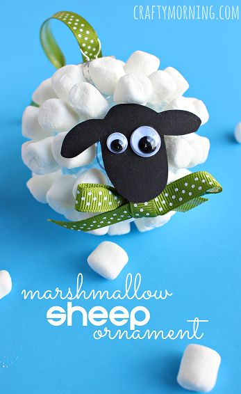Marshmallow sheep christmas ornament ornaments for kids for Sheep christmas ornament craft