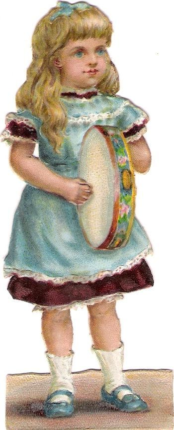 Oblaten Glanzbild scrap diecut chromo Kind child girl Trommel drum fillette: