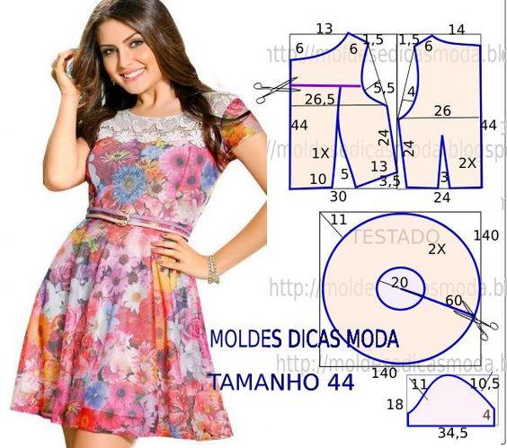 O molde vestido godé encontra-se no tamanho 44. A ilustração do molde não tem valor de costura tem que ser acrescentado.: