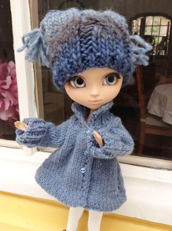 Winter Wolle Jacke blau Denim Blythe Momoko von AtelierMarieLouise