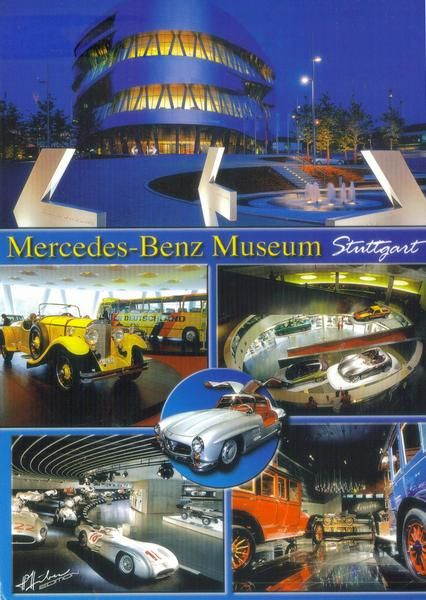 The Mercedes-Benz Museum is an automobile museum in Stuttgart, Germany. It covers the history of the Mercedes-Benz brand and the brands associated with it. Stuttgart is home to the Mercedes-Benz brand and the international headquarters of Daimler AG. Postcard.