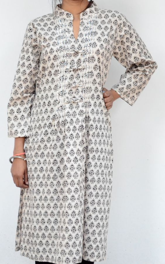 Cotton Bagh Printed Kurta with Sequin Embroidery