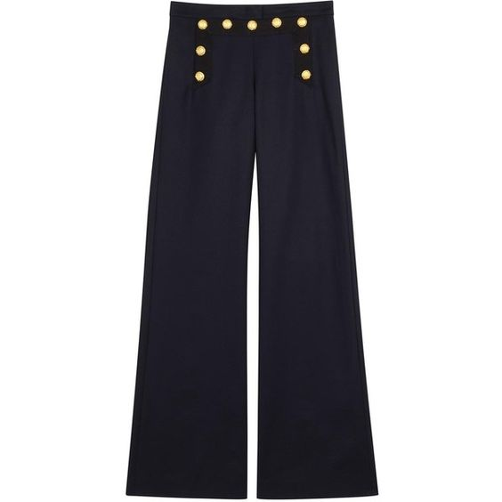 Womens Wide-Leg Trousers Veronica Beard Tide Line Wide-leg Stretch... ($570) ❤ liked on Polyvore featuring pants, wide-leg trousers, navy pants, cotton stretch pants, veronica beard and navy wide leg pants