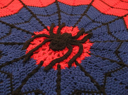 X993 Crochet Pattern : Ravelry: agamerswifes Spider-man Web Afghan Crochet ...