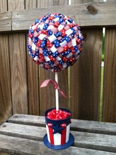 Ribbon topiary decor and welcome home on pinterest for Patriotic welcome home decorations
