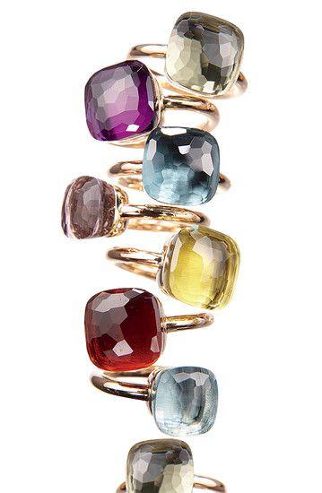 Pomellato's signature gold and colored-gemstone Nudo ring.