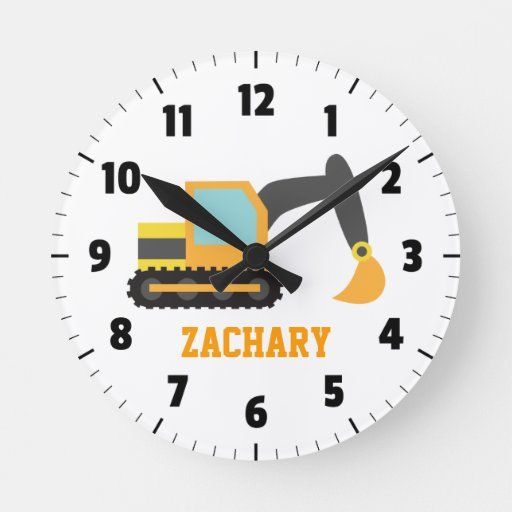 Orange Excavator Construction Vehicle For Kids Round Clock Zazzle Com In 2020 Construction Vehicles Clock Round Wall Clocks