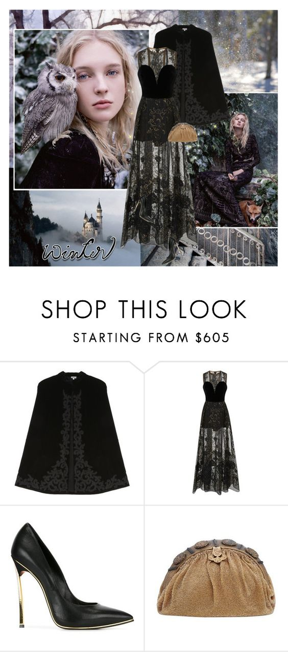 """""""Winter Fairy-Tale"""" by thisiswhoireallyam7 ❤ liked on Polyvore featuring Talitha, Elie Saab, Casadei, Winter, black, velvet, fairytale and cape"""