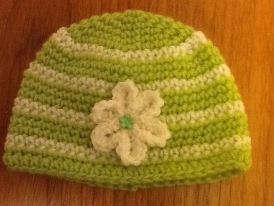 Lime and cream hat