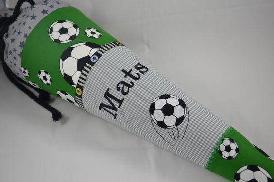 """Schultüten - Schultüte """"Fußball"""" Modell II, Kissenbezug - ein Designerstück von Farbe_bekennen bei DaWanda"""