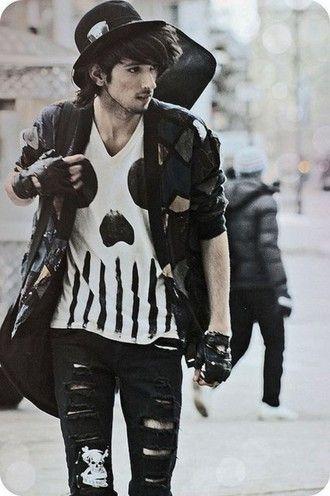 goth guys menswear rock skull t-shirt grunge menswear jacket gloves jeans shirt black white indie alternative edgy grunge punk tumblr outfit hat skinny jeans