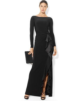 Macy\u0026#39;s Ralph Lauren Dresses | Lauren Ralph Lauren Dress, Long-Sleeve Ruffled Silk Gown