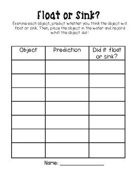 Printables Sink Or Float Worksheet or float worksheet davezan sink davezan