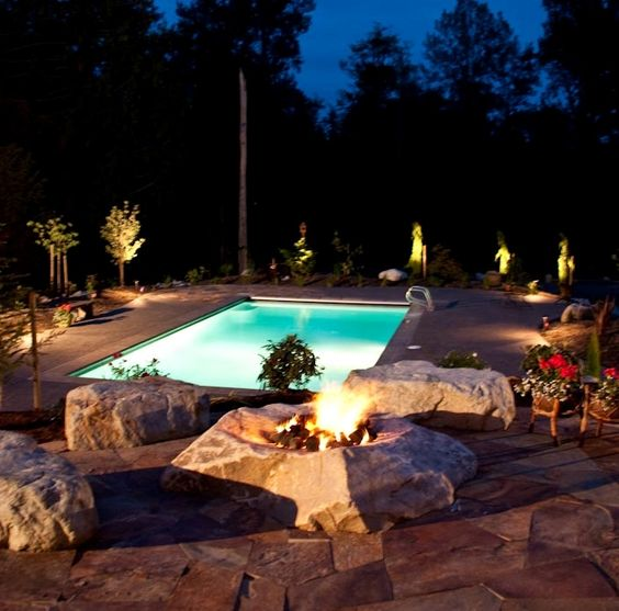 single rock fire pit: Outdoor Ideas, Decor Ideas, Rock Fire Pits, Places Spaces