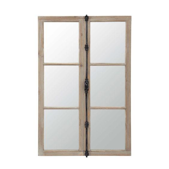 miroir fen tre en bois et m tal noir h 120 cm vaucluse maisons du monde pinterest m taux. Black Bedroom Furniture Sets. Home Design Ideas