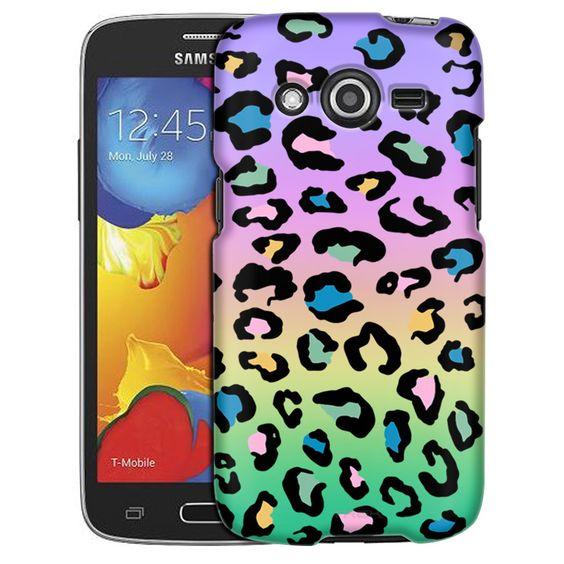 Samsung Galaxy Avant Coloful Leopard on Rainbow Slim Case