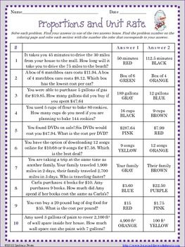 Worksheets Unit Rate Word Problems With Answers proportions and unit rate coloring worksheet mondays activities this activity gives students word problems that involve setting up solving rate