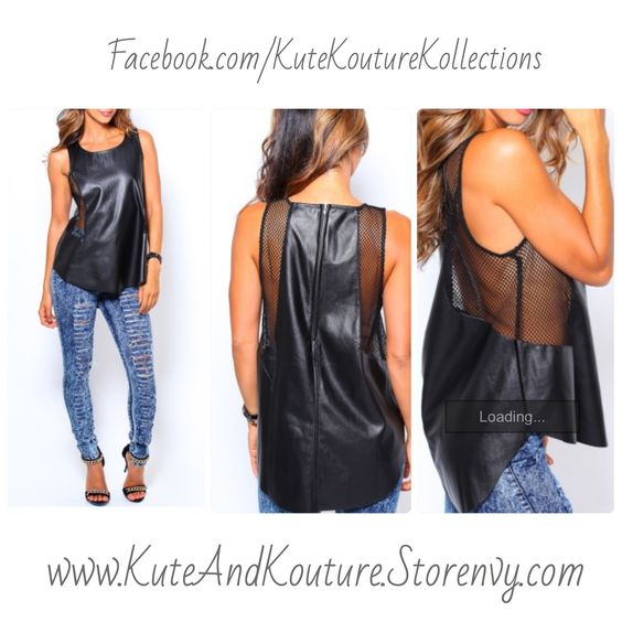 Sexy+leather+top+features+net+detail+at+sides.+Vegan+leather+material.+Looks+smoking+with+high+waist+skinnies+and+nude+heels! Poly+Blend Model+is+wearing+a+SMALL  www.KuteAndKouture.Storenvy.com Facebook.com/kutekouturekollections
