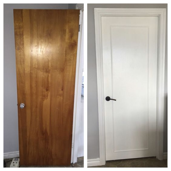 Updated old wood doors to a modern  look with wood trim, primer, white pearl paint and new handles.