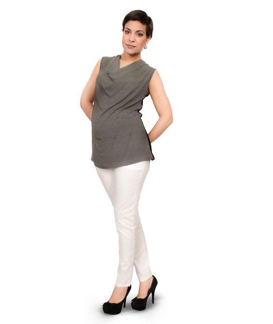 79fe45f34887 compra online il pantalone premaman fascia alta in gebardine di cotone  dalla linea aderente