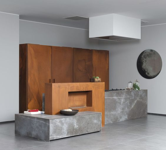 Cuisine en pierre / en métal / avec îlot - 201112#11_D90_PIETRA DI CORINTO - TM…