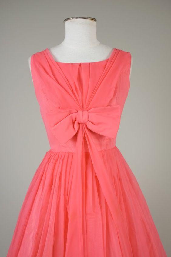 1950s chiffon party dress vintage 50s dress by MintageClothingCo