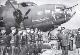 General Devers and Eaker congratulating the crew of the Memphis Belle after 25th mission