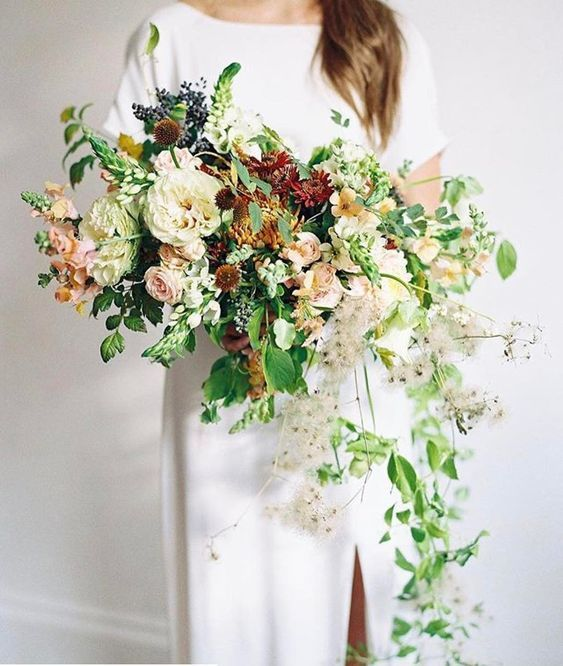 Wedding Wednesday Bouquets Full Of Texture In 2020 Flower Bouquet Wedding Bridal Bouquet Fall Wedding Bouquets