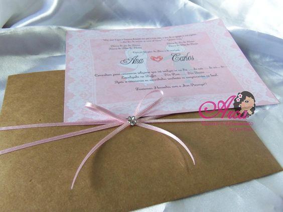 Convite de Casamento - Craft Pedido minimo: 50 unidades R$ 2,50