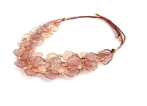 Peach statement necklace from wire lace. Bib by JustEnjoyYourJewel