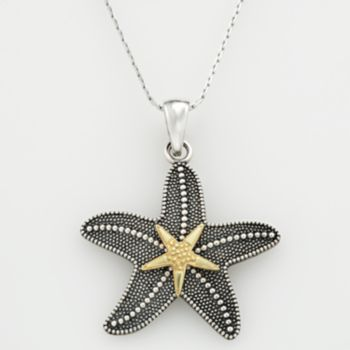 Kohls: Starfish Pendant & earrings 14k Gold Over Silver & Sterling Silver Textured