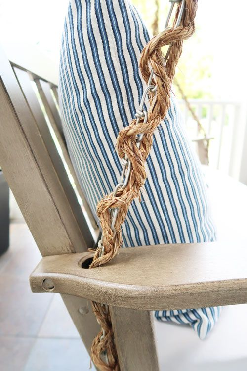 How To Wrap A Porch Swing Chain With Rope Painted Outdoor Furniture Pottery Barn Outdoor Furniture Restoration Hardware Outdoor Furniture