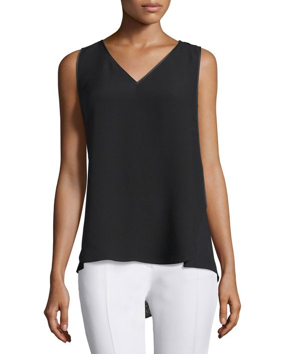 Minna Sleeveless Lace-Inset Blouse, Black, Women's, Size: XX-LARGE - Lafayette 148 New York