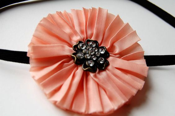 Vintage Inspired Pink Fabric Flower Infant Headband (0 - 6 months)