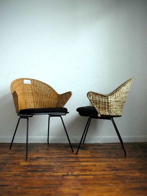 midcentury cane chairs