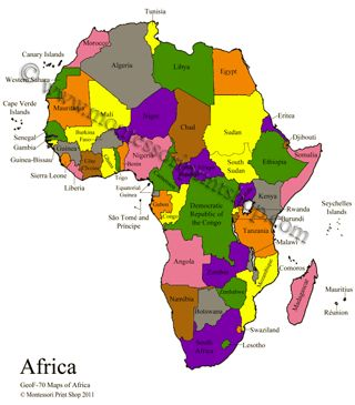 Africa Control Maps Masters includes Blank Colored Labeled
