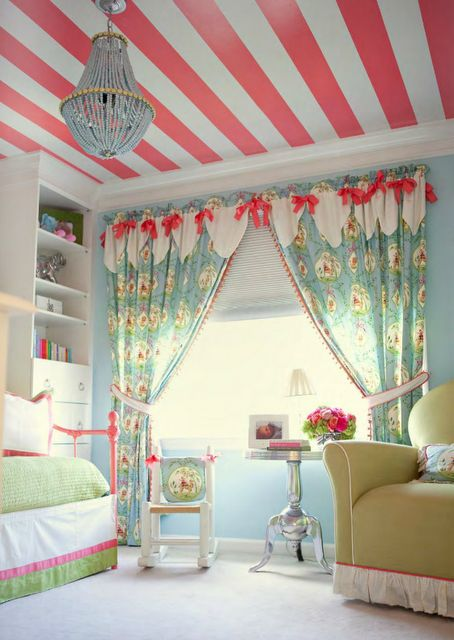 Striped ceiling, curtains, chandelier - I love it all!!!