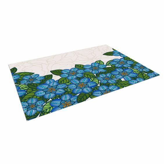 """Art Love Passion """"Blue Flower Field"""" Beige Blue Indoor / Outdoor Floor Mat"""