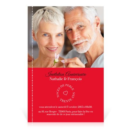 invitation anniversaire mariage noces de perle cardissime trente ans de mariage a se - 40 Ans De Mariage Noce De