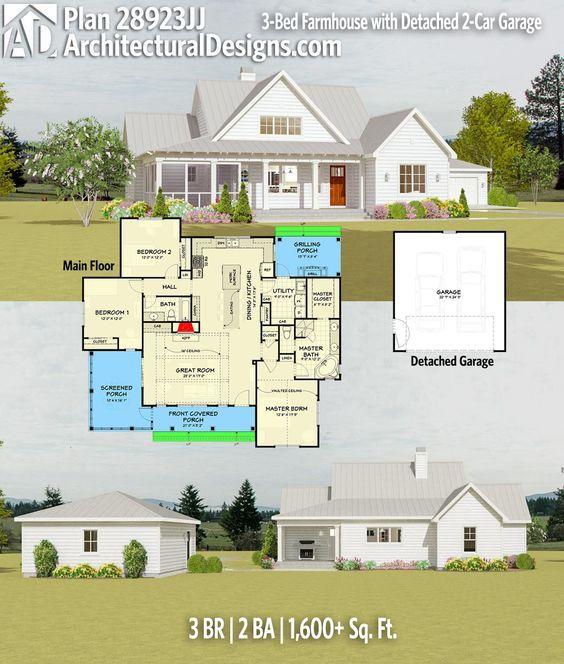 Plan 28923jj 3 Bed Farmhouse With Detached 2 Car Garage Architectural Design House Plans Country House Plans House Plans