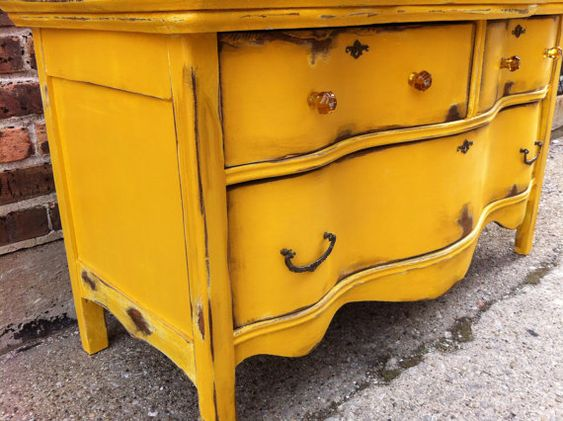 mustard yellow distressed furniture - 48.0KB